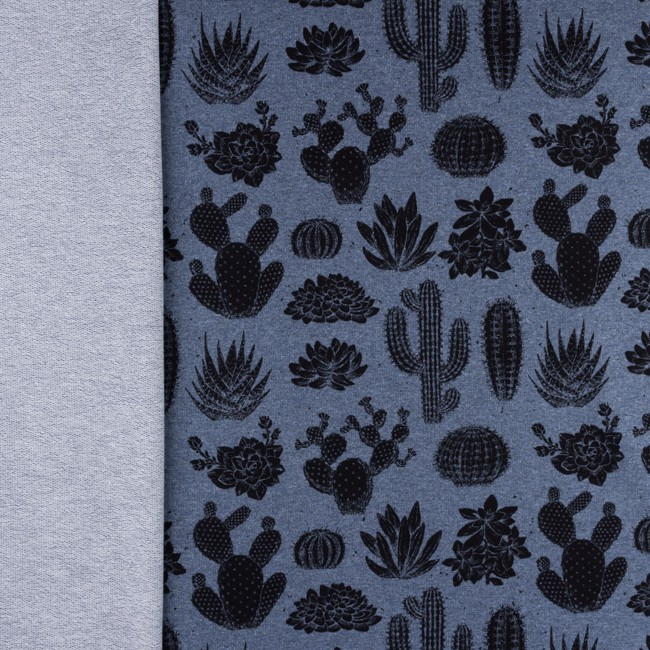 [S345R] French Terry Melange Printed Cactus