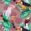 [S370R-62832] [S370R] Digital Printing Tropical Birds (Light Brown)