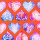 [S383R-62932] [S383R] Digital Printing Ornament Hearts (Rust)