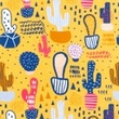 [S417R-63157] [S417R] Jersey Printed Cacti (Dark Yellow)