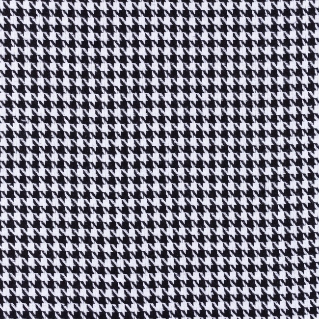 [S556R] Check Coat Fabric Black White Pied De Poule