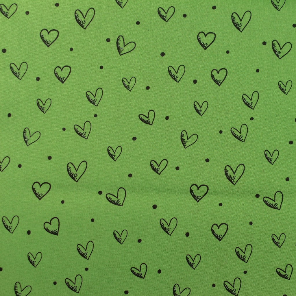 [S914R] Poplin Printed Ink Hearts