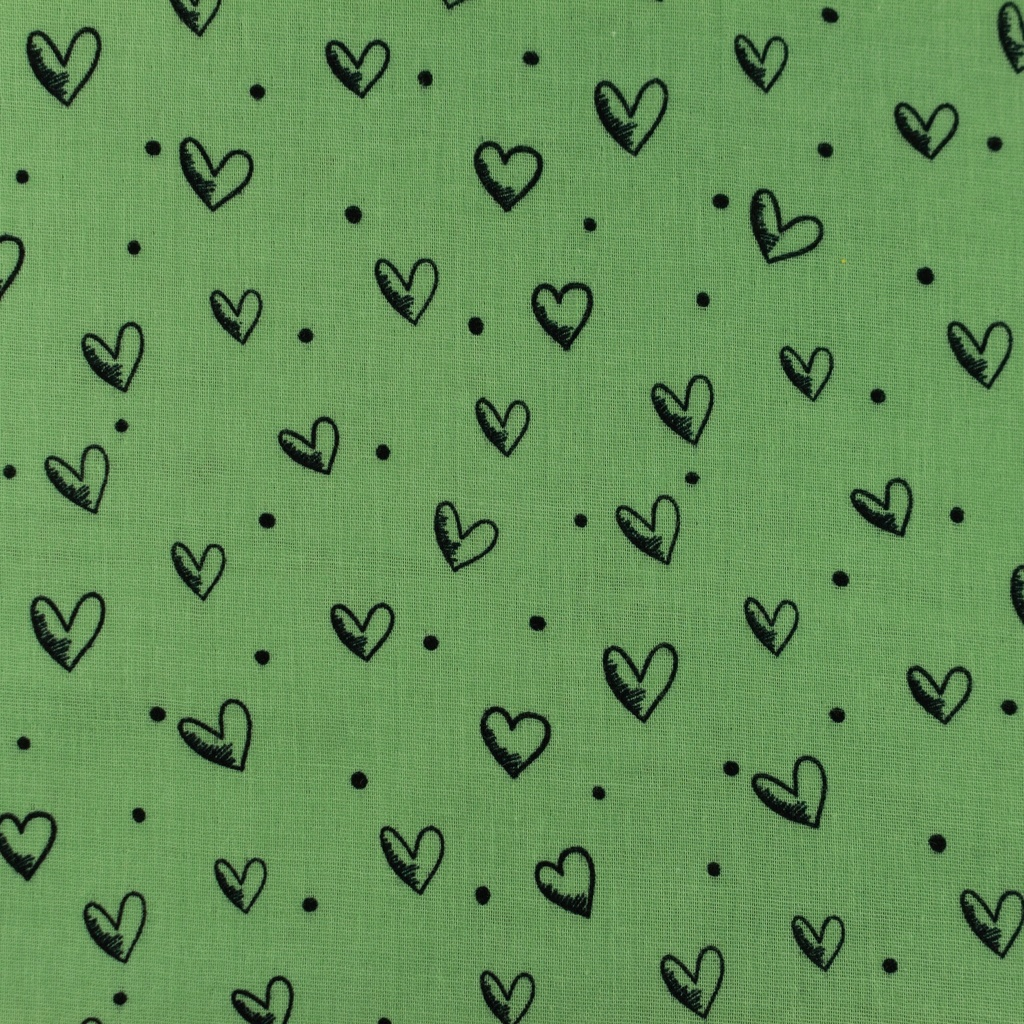[S948R] Double Gauze Cotton Ink Hearts