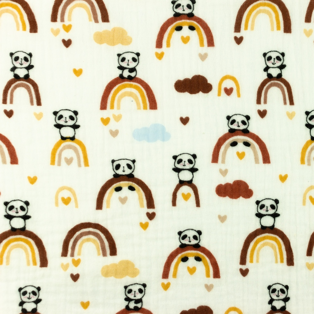 [S962R] Double Gauze Cotton Crinkled Panda