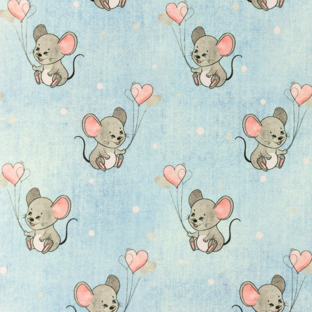 [S988R] Jersey Digital Printed Jeans Melange Mouse With Hearts