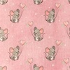 [S988R-182791] [S988R] Jersey Digital Printed Jeans Melange Mouse With Hearts (Pink)