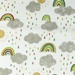 [S1056R-183475] [S1056R] Poplin Printed Rainbow Clouds Snoozy (Old Green)