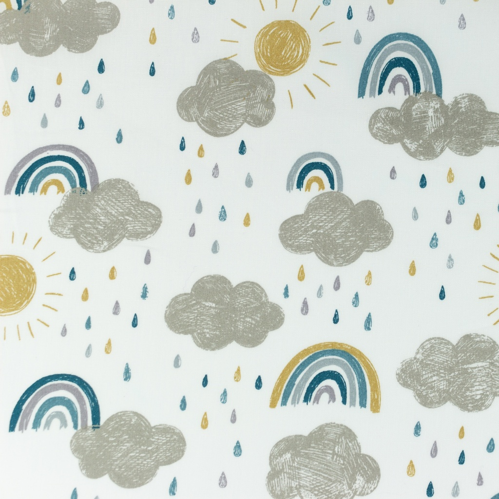 [S1056R] Poplin Printed Rainbow Clouds Snoozy