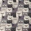 [S1093R-183442] [S1093R] Poplin Printed Cats (Grey)