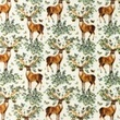 [S1124R-182873] [S1124R] Double Gauze Crinkled Closed Embroidery Flair Digital 1 (Deer)
