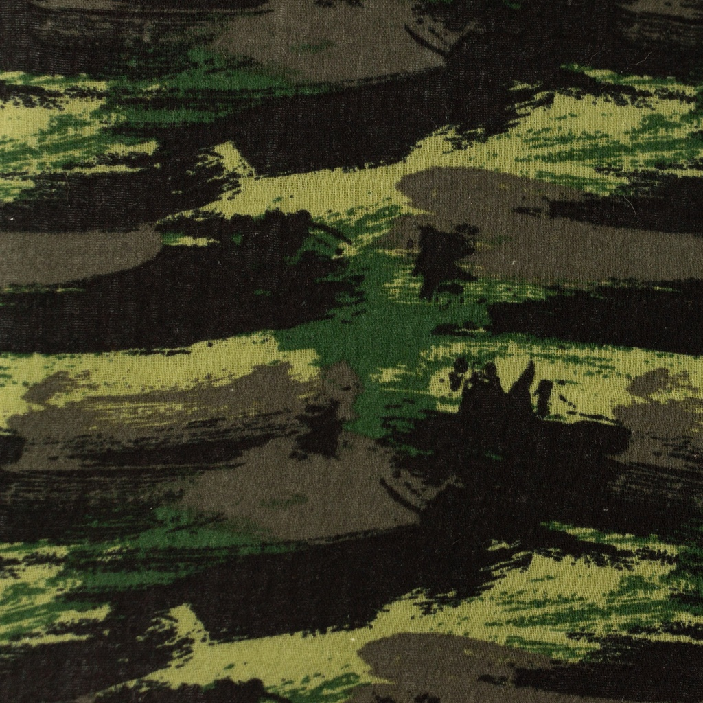 [S1157R] Double Gauze Crinkled Printed Graffiti Camouflage