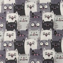 [S1160R-183737] [S1160R] Double Gauze Flat Printed Cats (Grey)