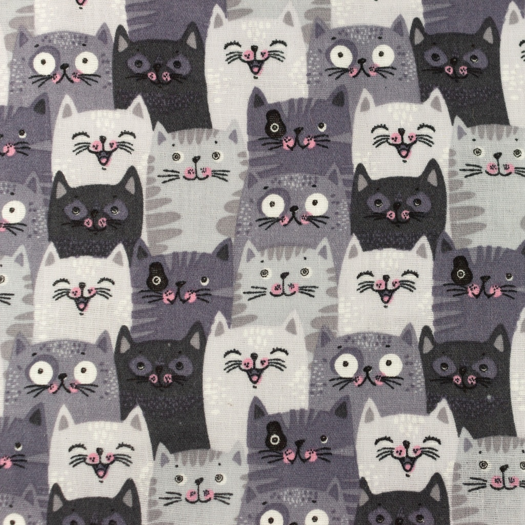 [S1160L] Double Gauze Flat Printed Cats