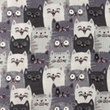 [S1160L-183737] [S1160L] Double Gauze Flat Printed Cats (Grey)