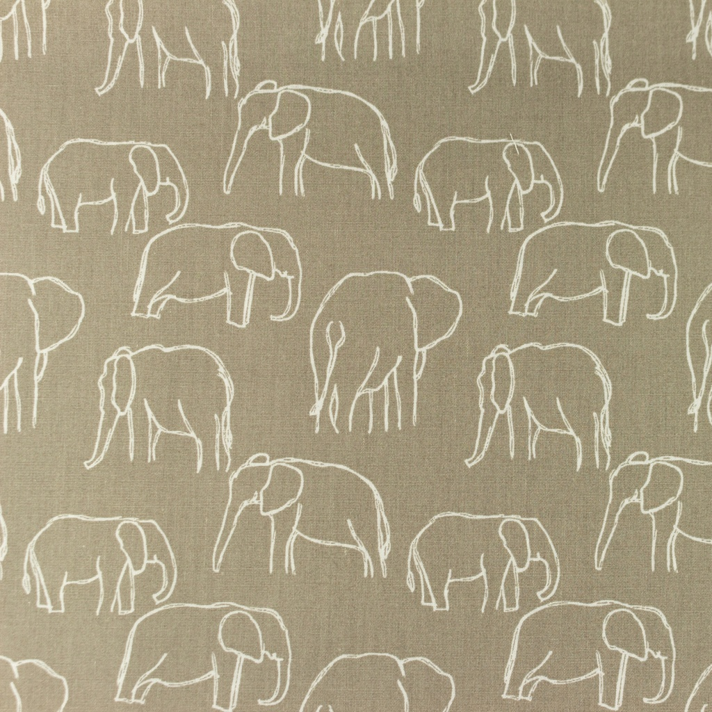 [S1156R] Poplin Printed Elephants Line Art Snoozy
