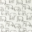 [S1156R-183480] [S1156R] Poplin Printed Elephants Line Art Snoozy (White)