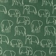[S1156R-183484] [S1156R] Poplin Printed Elephants Line Art Snoozy (Dark Old Green)