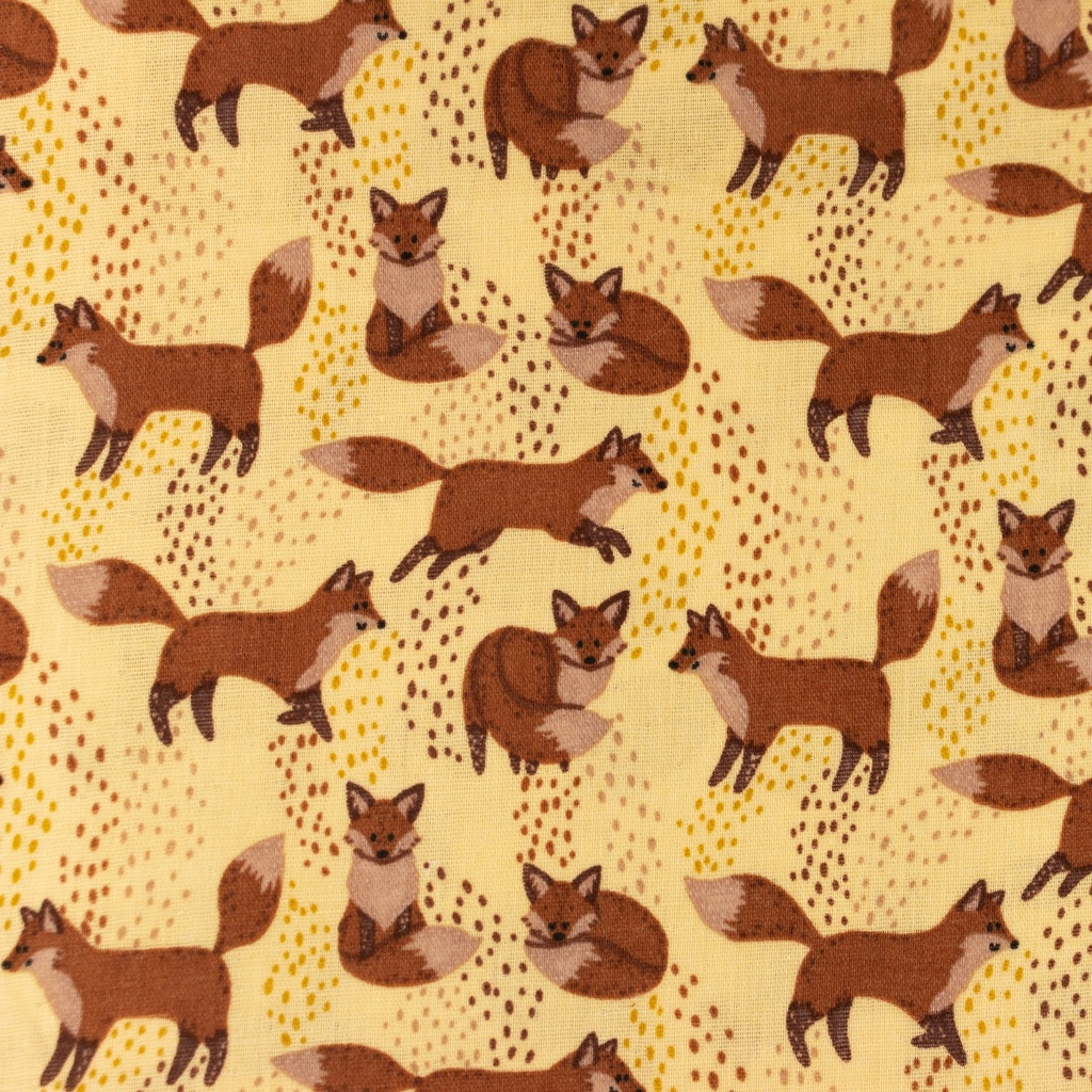 [S1168L] Double Gauze Flat Printed Fox