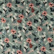 [S1169R-183796] [S1169R] Double Gauze Flat Printed Little Flowers (Old Blue)