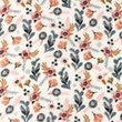 [S1169R-183795] [S1169R] Double Gauze Flat Printed Little Flowers (White)