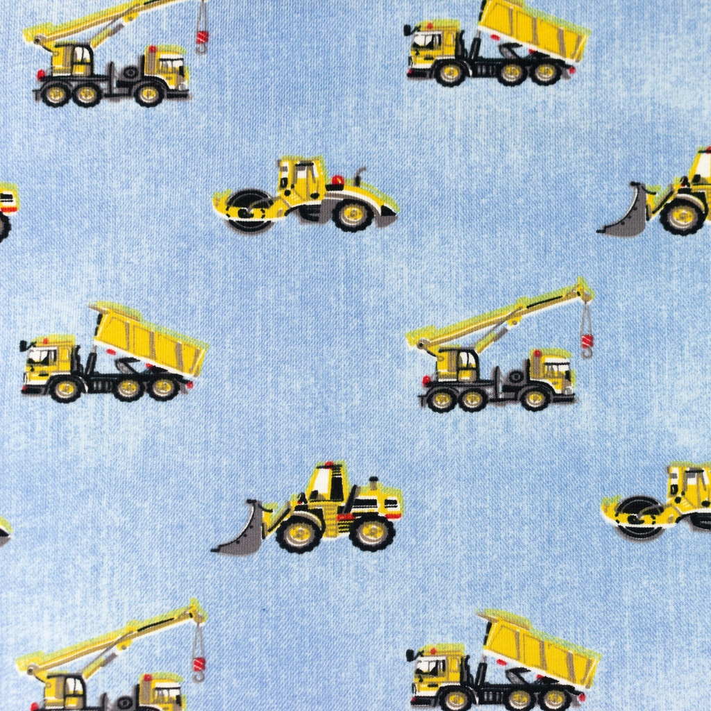 [S1179R] Jersey Printed Jeans Construction Vehicles