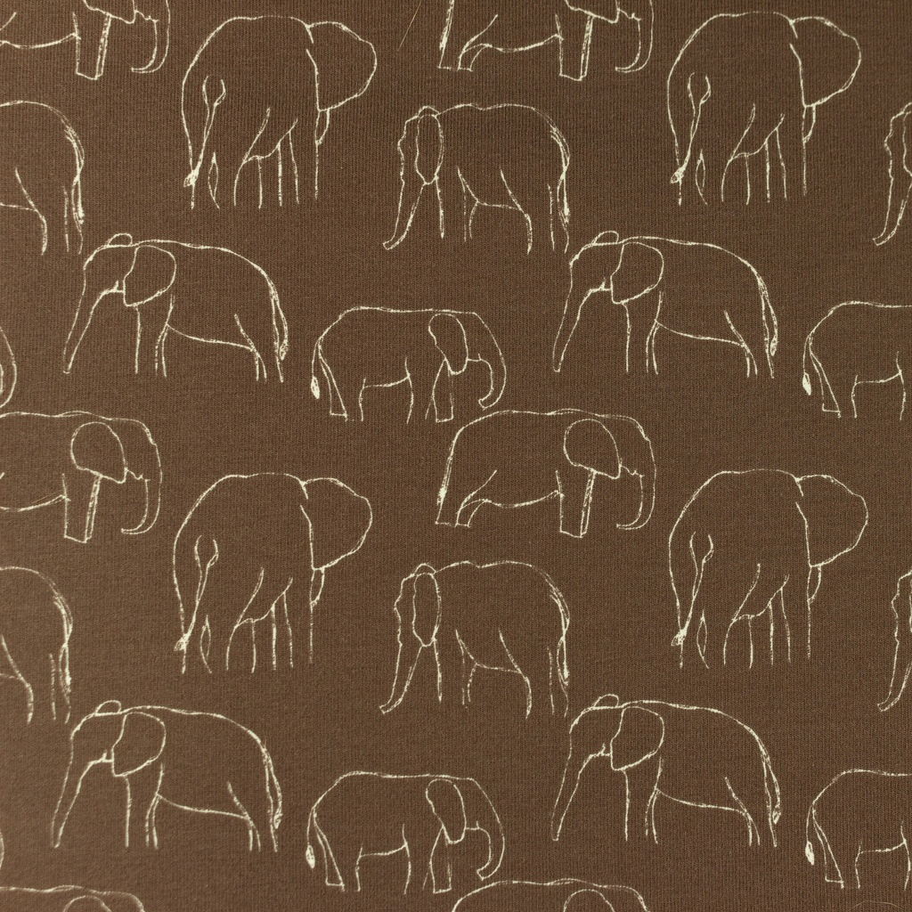 [S1181R] Jersey Printed Elephants Line Art Snoozy