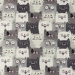 [S1185R-184809] [S1185R] Jersey Printed Cats (Grey)
