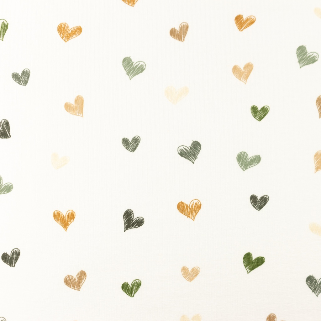 [S1195R] Jersey Printed Draw Heart Snoozy