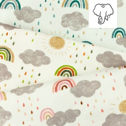 [S1187R] Jersey Printed Rainbow Clouds Snoozy