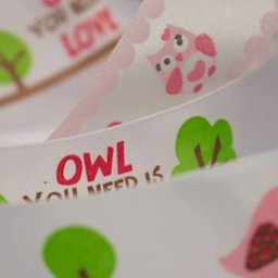 [021R] Satin Ribbon Bird & Owls