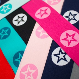 [223R] Elastic With Woven Star Round 2-Coloured 40 mm