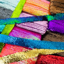 [615R] Stretchable Sequin Trim 55 mm