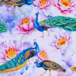 [S400R-63031] [S400R] Digital Printing Peacock Water Lily