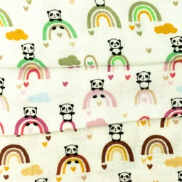 [S962L] Double Gauze Cotton Crinkled Panda