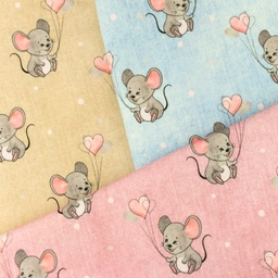 [S988L] Jersey Digital Printed Jeans Melange Mouse With Hearts