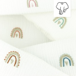 [S1141R] Double Gauze Crinkled Closed Embroidery Rainbow Snoozy