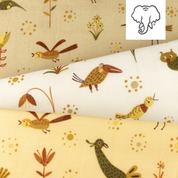 [S1142R] Double Gauze Flat Printed Forest Animals Snoozy