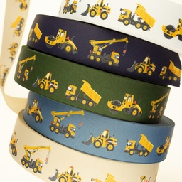 [673R] Elastic With Printed Construction Vehicles 40 mm